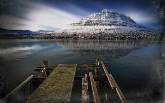 земли, ландшафты, пейзажи -, горы, озеро, ретушь, мост, дек, красивые, мар,
