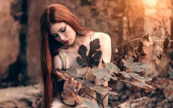 девушка, волосы, cicco, alessandro, red, ди, flowers, extensions, листья,