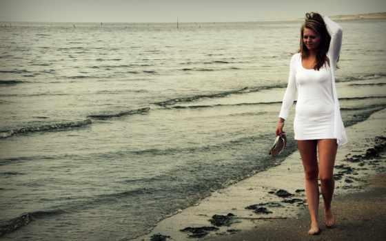 девушка, гуляет, прогулка, берегу, пляж, she, моря,