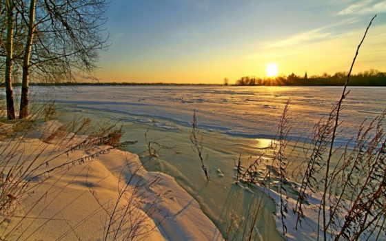 priroda, снег, закаты