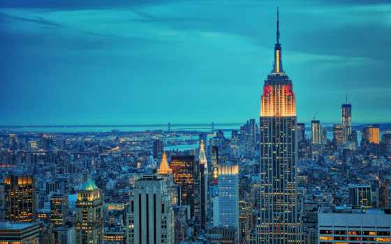 нью, york, new, ночь, город, империя, state,