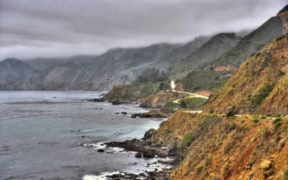 скалы, море, surf, дорога, waves, природа, oblaka,