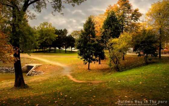 широкоформатные, природа, осень, full, живые,