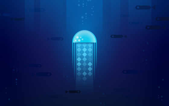 launcher, jellyfish, minimal, nn, desktop, blue, nice,
