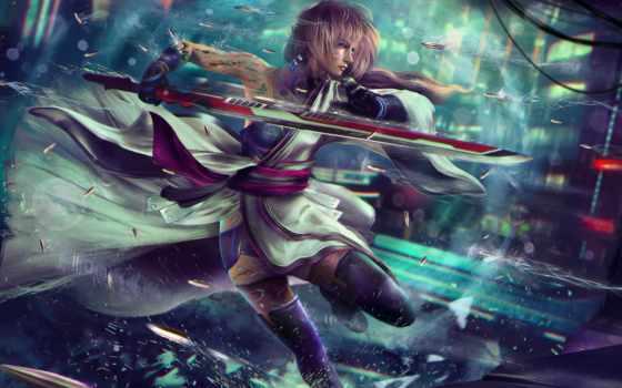 fantasy, final, lightning, art, game, cyberpunk
