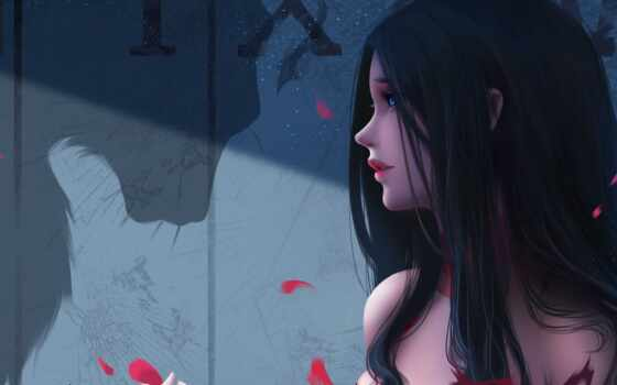 девушка, art, fantasy, глаз, волосы, digital, blue, black, тигр, artist, anime