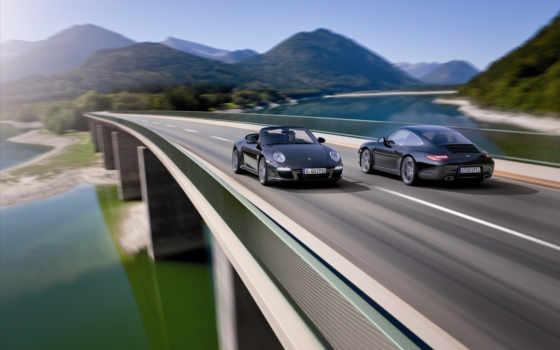 911, черный, машины, мост, дорога, автомобиль, кабриолет, летит, скорость, горы, вода,