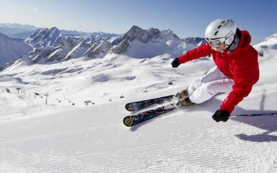 горные, лыжи, снег, горы, голубое,