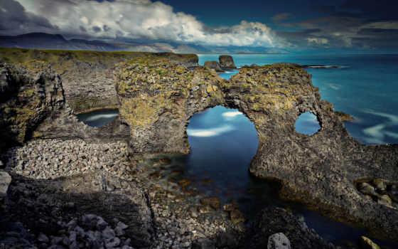 берег, арка, море, галька, объемные, oblaka,