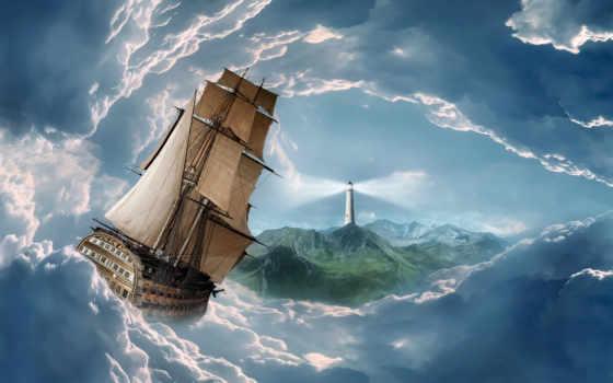 lighthouse, корабль, купить, aliexpress, clouds, schooner, живопись, sail, online, цена,