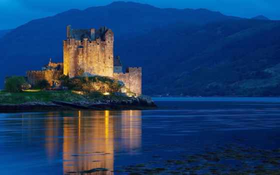 шотландия, castle, ночь, kingdom, united, dornie, castles, донан, mountains, eilean, water,