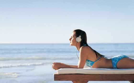 девушка, devushki, наушниках, моря, preview, оценка, просмотры, берегу, белом, fone, картинку,