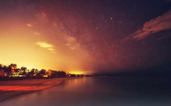 вечер, united, фото, states, пляж, naples, небо, ночь