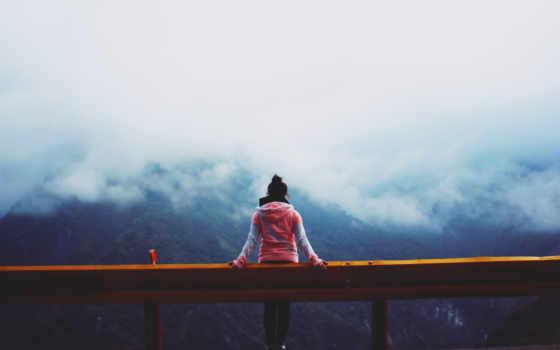 девушка, который, цитата, просьба, гора, спина