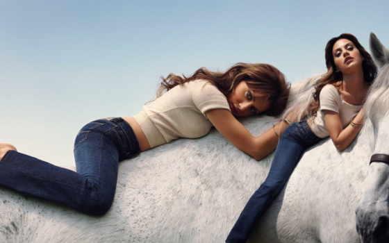 лошадь, pack, девушка, всадник