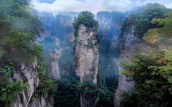 china, cliff, гора, park, landscape, national, аватар, mist, природа, утро