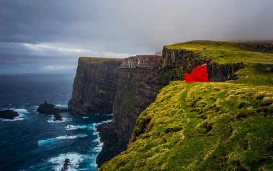 cliff, denmark, море, остров, ocean, атлантический, red, платье