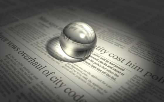 газета, массовой, средства, информации, стекло, шар, сфера,