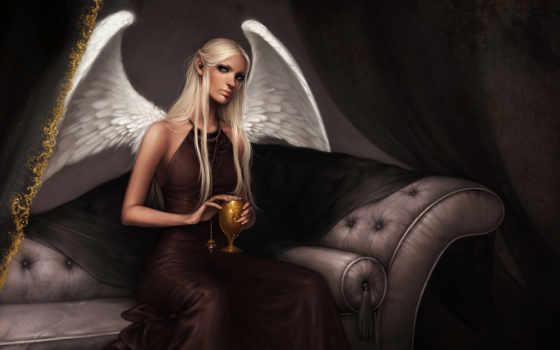 ангел, бокал
