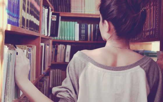 книги, девушка, брюнетка