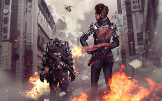 девушка, cyborg, robot, город, оружие, вертолет, police, фотоманипуляция, янв, пламя,