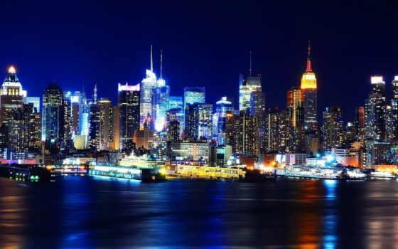 нью, york, огни, мост, new, ночь, город, бруклин,