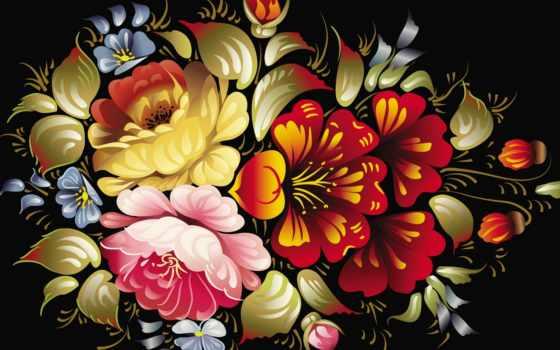 cvety, fone, черном, цветов,