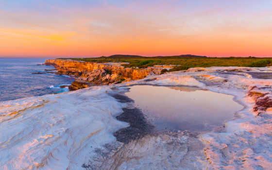 закат, австралия, небо, море, побережье, rocks, red, clouds, sydney,