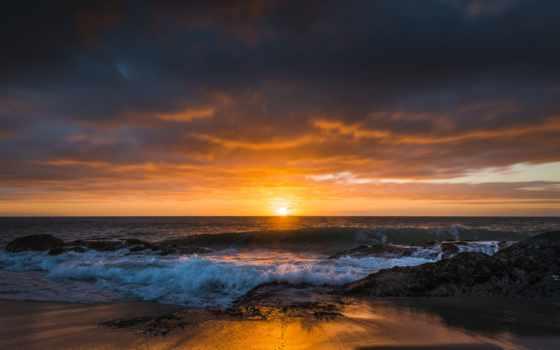 небо, закат, восход, pacific, картинка, ocean, los,