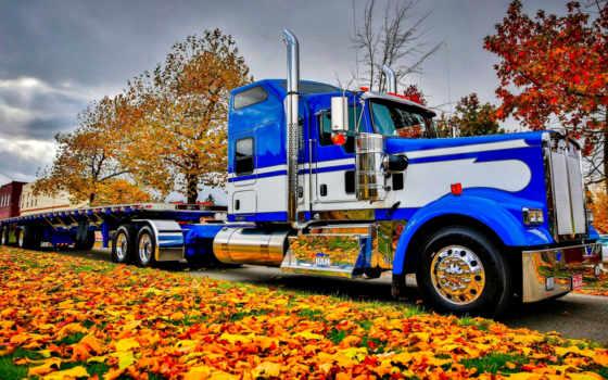 peterbilt, осень, gruzoviki, природа, truck, дорога,