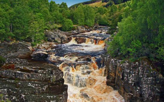 природа, река, водопад, пейзажи -, relax, landscape, красочных,