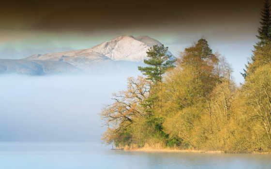 туман, озеро, sz, desktop, лес, mountains, горы, waves,