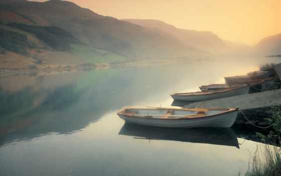 лодки, красивая, туман, река, душі,  горы,