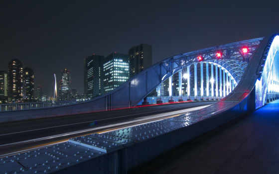 мост, город, ночь, огни, urban, река,
