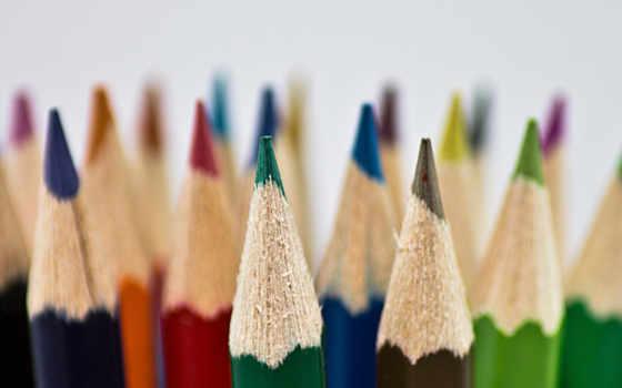 макро, цветные, карандаши, картинка,