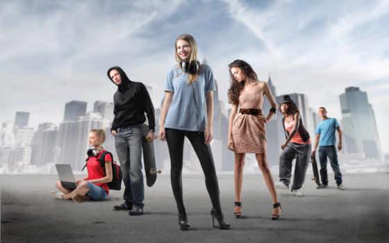 company, браун, парни, devushki, blonde, джинсы, наушники, темнокожая, девушка, туфли,