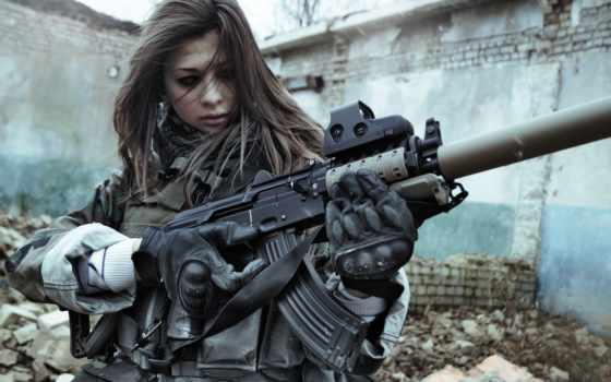 devushki, оружие, war