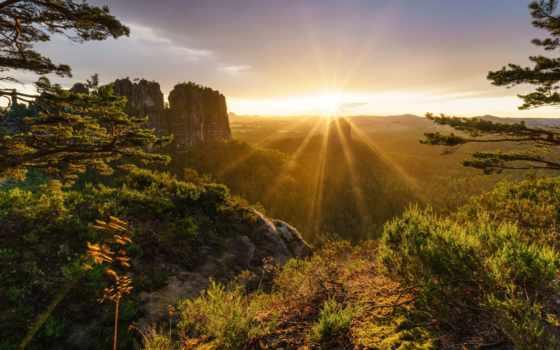 альпы, горы, скалы, природа, закаты, рассветы, trees, закат, лес, rays, swiss,
