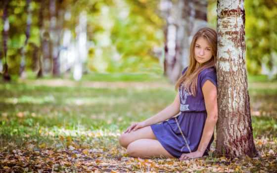девушка, природа, осень, девушек, листва, женщина, березы, береза, ствол,