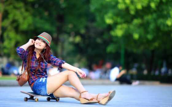 скейт, devushki, devushka, шляпа, азиатка,