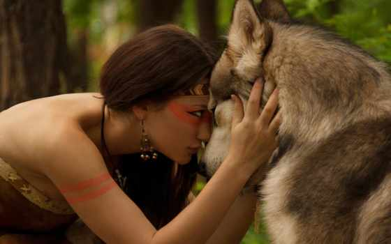 волк, девушка, лес