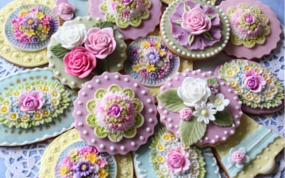 глазурь, cookies, сладкое, цветы, цветные, формы,