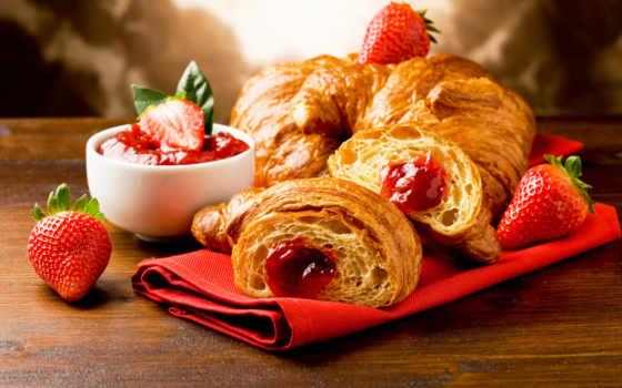 круассаны, растровый, clipart, croissants, завтрак, frances, coffee,