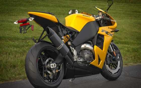 мотоцикл, ebr, взгляд, buell, bike, сзади, мотоциклы, yellow,
