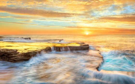 море, водопад, картинка, кадры, water, природа, блики, ocean, австралия, золотистый,