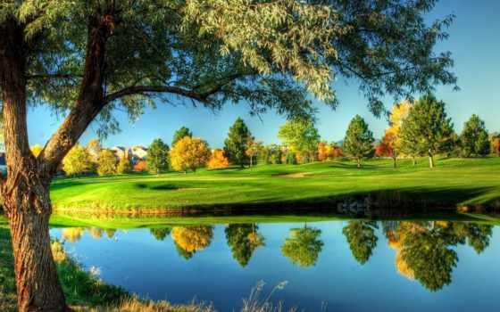 природа, река, осень, дома, листва, мост,