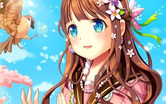 волосы, anime, браун, blue, eyes, девушка, short, long,