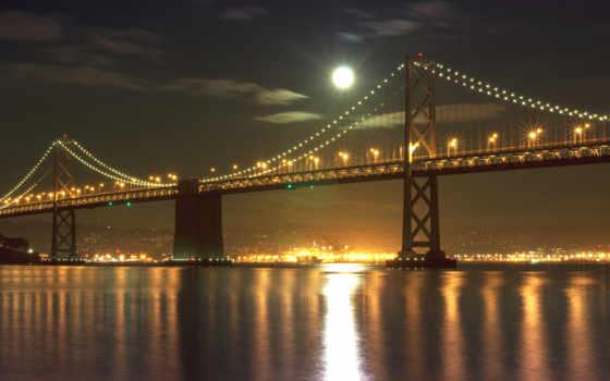 мост, francisco, sana, телефон, мосты, города, ночь,