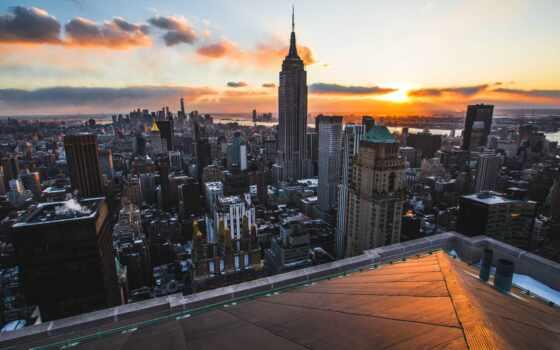 york, rooftop, new, город, взгляд