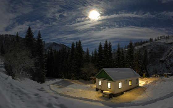 moon, cold, house, free, ночь, горы, зима, nature, снег,